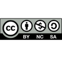 Icon with letters CC in a circle, next to a person in a circle above the letters BY, next to a dollar sign with a line over it in a circle above the letters NC, next to an arrow forming a circle above the letters SA